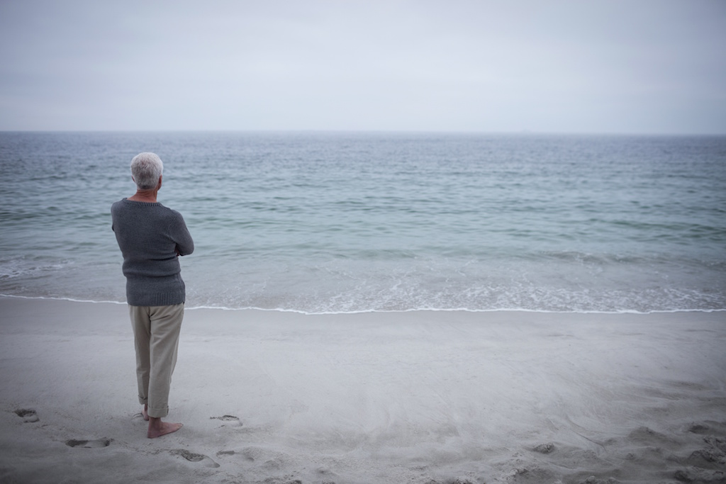 Rear view of senior man looking at sea